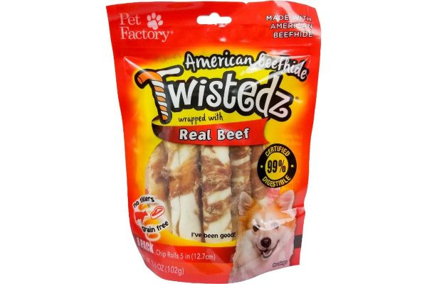 "Bag of TWISTEDZ® American Beefhide Chip Rolls w/Beef Meat Meat Wrap, Pack of 8, 5"" Bones, front view"