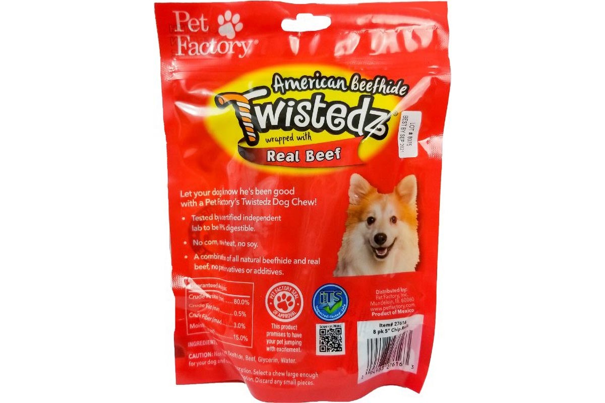 "Bag of TWISTEDZ® American Beefhide Chip Rolls w/Beef Meat Meat Wrap, Pack of 8, 5"" Bones, back panel"