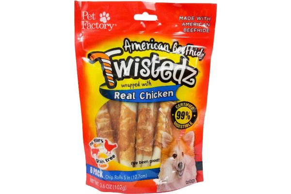 "Bag of TWISTEDZ® American Beefhide Chip Rolls w/Chicken Meat Wrap, pack of 8, 5"" Chip Rolls, Front view"