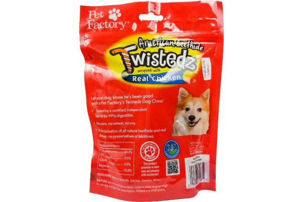 "Bag of TWISTEDZ® American Beefhide Chip Rolls w/Chicken Meat Wrap, pack of 8, 5"" Chip Rolls, back Panel"