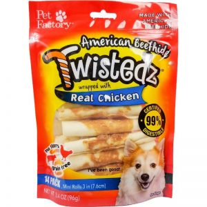 "Bag of TWISTEDZ® American Beefhide Mini Rolls w/Chicken Meat Wrap, Pack of 14, 3-3.5"" mini rolls, front view"