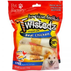 "Bag of TWISTEDZ® American Beefhide Rolls w/Chicken Meat Wrap, Pack of 4, 4-4.5"" Rolls, front view"