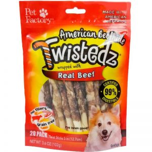 "Bag of TWISTEDZ® American Beefhide Twist Sticks w/Beef Meat Wrap, Pack of 20, 5"" twist sticks, front view"