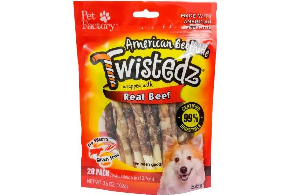 "Bag of TWISTEDZ® American Beefhide Twist Sticks w/Beef Meat Wrap, Pack of 20, 5"" twist sticks, front view"