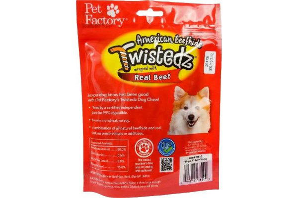"Bag of TWISTEDZ® American Beefhide Twist Sticks w/Beef Meat Wrap, Pack of 20, 5"" twist sticks, back panel"