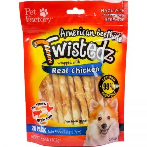 "Bag of TWISTEDZ® American Beefhide Twist Sticks w/Chicken Meat Wrap, Pack of 20, 5"" twist sticks, front view"