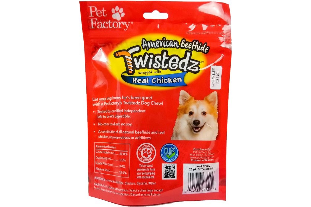 "Bag of TWISTEDZ® American Beefhide Twist Sticks w/Chicken Meat Wrap, Pack of 20, 5"" twist sticks, back panel"