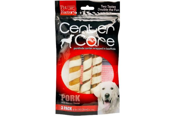 ": Pack of 3 Pet Factory USA ""Center Core"" Porkhide Roll wrapped in Beefhide, three 6 inch bones, front view"