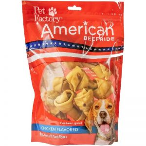 A Bag of Pet Factory's American Beefhide Bones , Chicken Flavored 4-5 ""