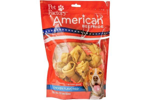 "A Bag of Pet Factory's American Beefhide Bones , Chicken Flavored 4-5 """