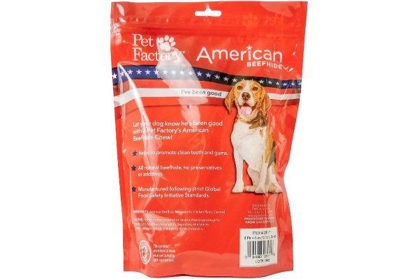 """Back Panel Of Pet Factory's American Beefhide Bones , Chicken Flavored 4-5 """""""