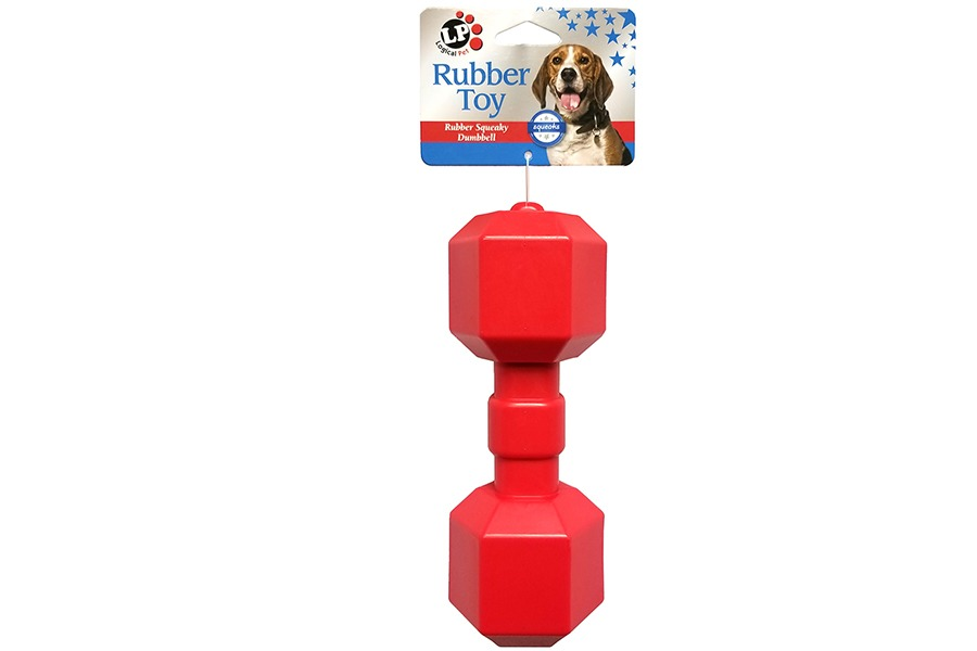 Red Rubber Dumbell Dog Toy Front View