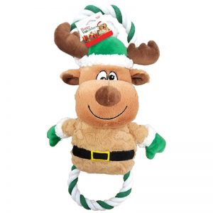 plush and rope reindeer holiday themed dog toy