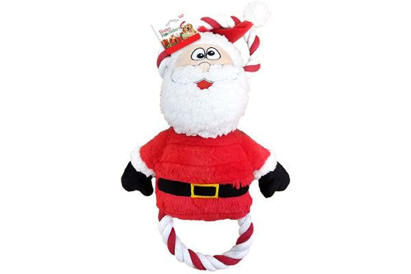 plush and rope Santa Claus holiday themed dog toy