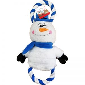 plush and rope snowman holiday themed dog toy