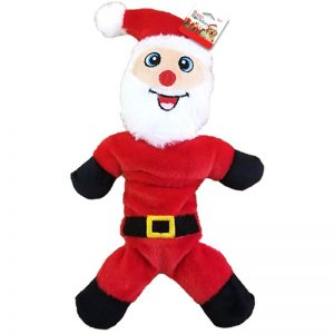 plush santa claus holiday themed dog toy