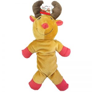 plush reindeer holiday themed dog toy