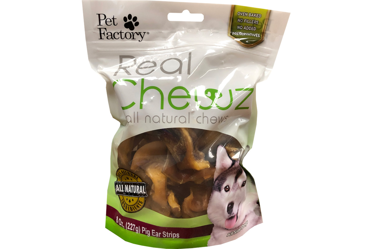 Bag of Pet Factory's Real Chews Pig ear strips